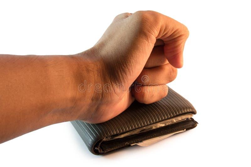 Mão que descansa na carteira imagem de stock