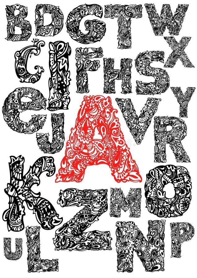 Mão que desenha o alfabeto decorativo ilustração do vetor