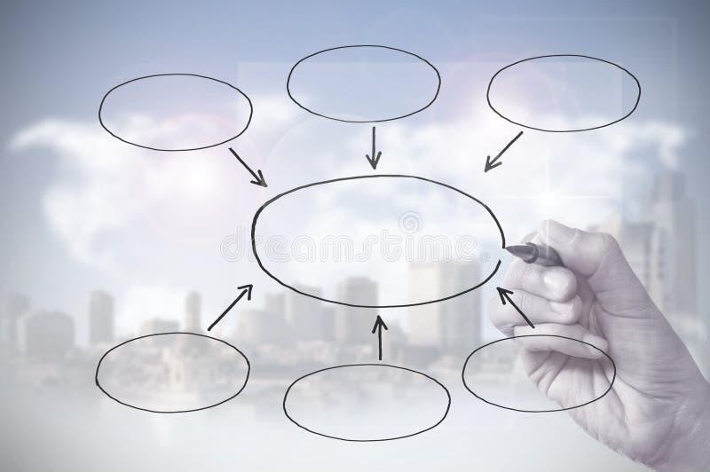 Mão que desenha um diagrama vazio foto de stock royalty free