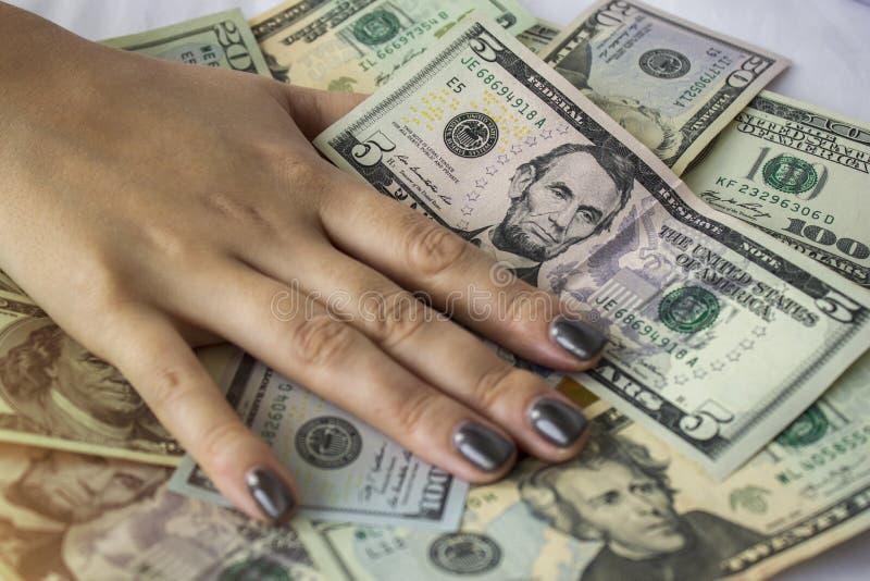 Mão que encontra-se em notas de dólar Fundo do dinheiro imagens de stock