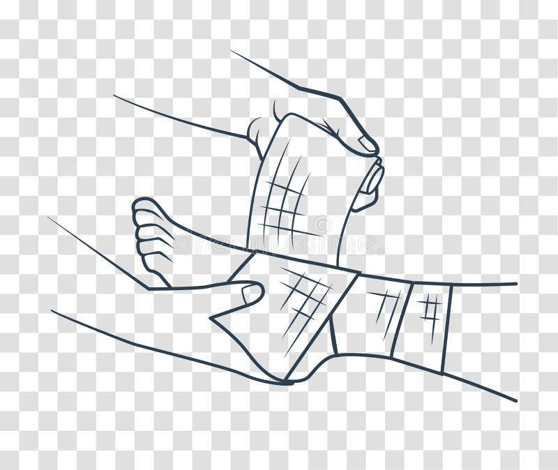 Mão que enfaixando o ícone do pé ilustração stock