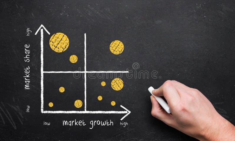 Mão que esboça um diagrama do negócio do portfólio fotografia de stock