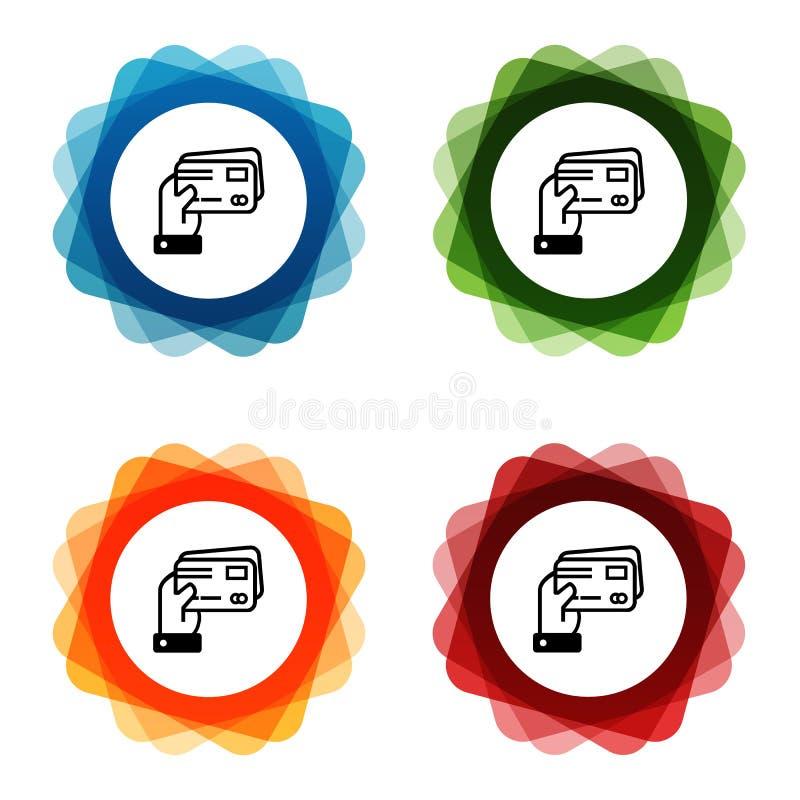 Mão que guarda ícones dos cartões de crédito Vetor Eps10 ilustração do vetor
