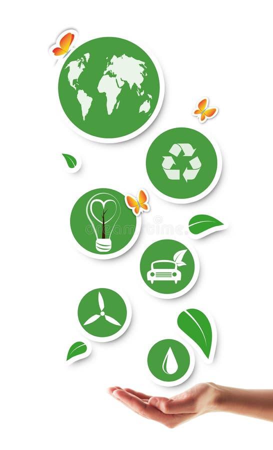 Mão que guarda ícones ecológicos verdes ilustração do vetor