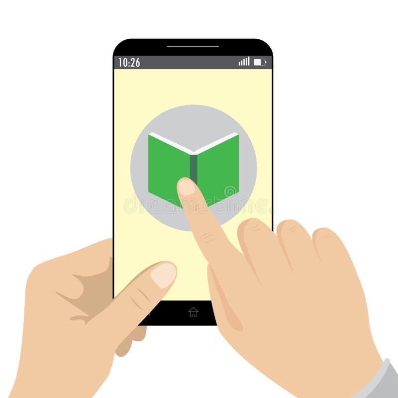 Mão que guarda a aplicação esperta da agenda de telefones ilustração do vetor