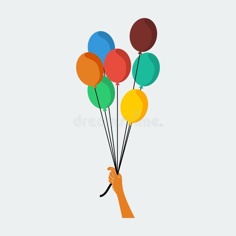 Mão que guarda balões ilustração royalty free
