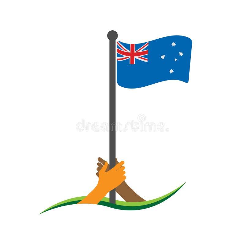 Mão que guarda a bandeira Vetor australiano da bandeira O conceito de guardar do nacionalismo ilustração stock