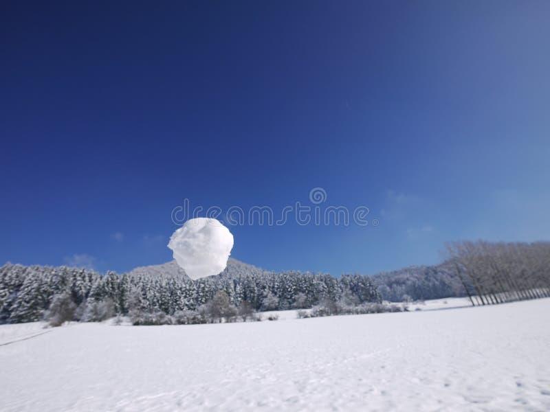Mão que guarda a bola da neve imagem de stock royalty free