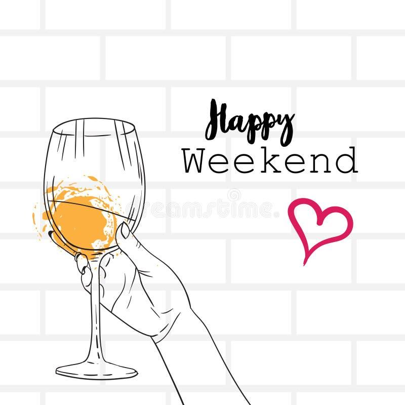 Mão que guarda a caligrafia feliz de vidro do conceito do fim de semana do vinho que rotula o esboço cinzento do fundo dos tijolo ilustração stock