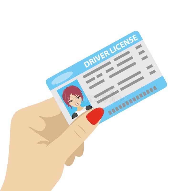 Mão que guarda a carteira de motorista com foto fêmea ilustração do vetor