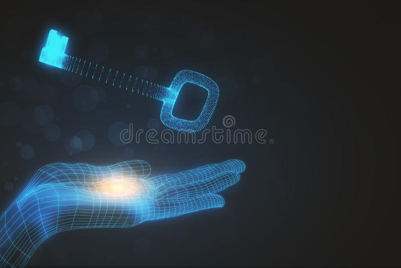 Mão que guarda a chave de incandescência fotografia de stock