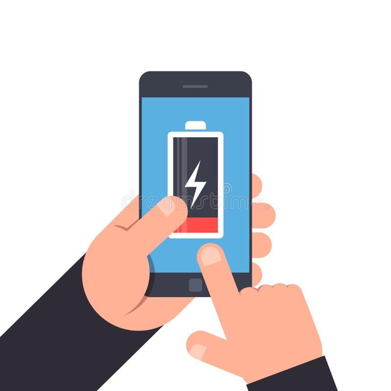 Mão que guarda e que aponta a um smartphone Baixa vida da bateria do telefone celular Ícone da bateria no smartphone azul do fund ilustração stock