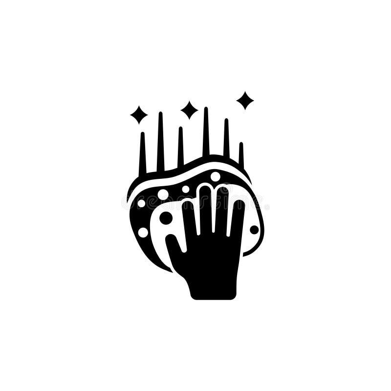 Mão que guarda a esponja, ícone liso de superfície de esfrega do vetor ilustração royalty free
