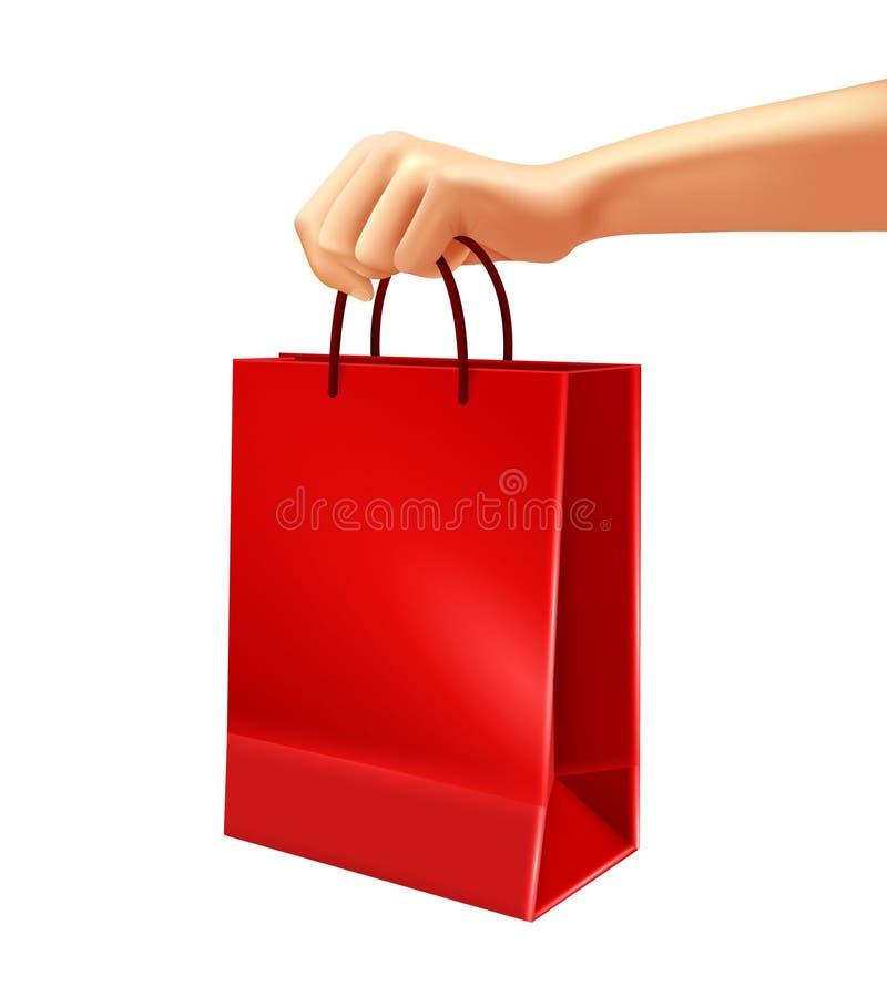 Mão que guarda a ilustração vermelha do saco de compras ilustração royalty free