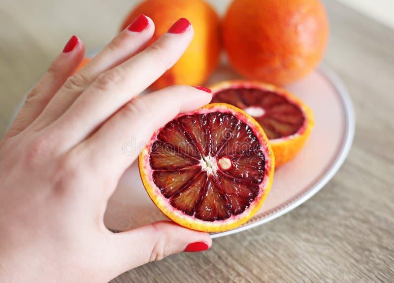 Mão que guarda laranjas frescas - laranja pigmentada do tarocco - laranja otimista fotos de stock