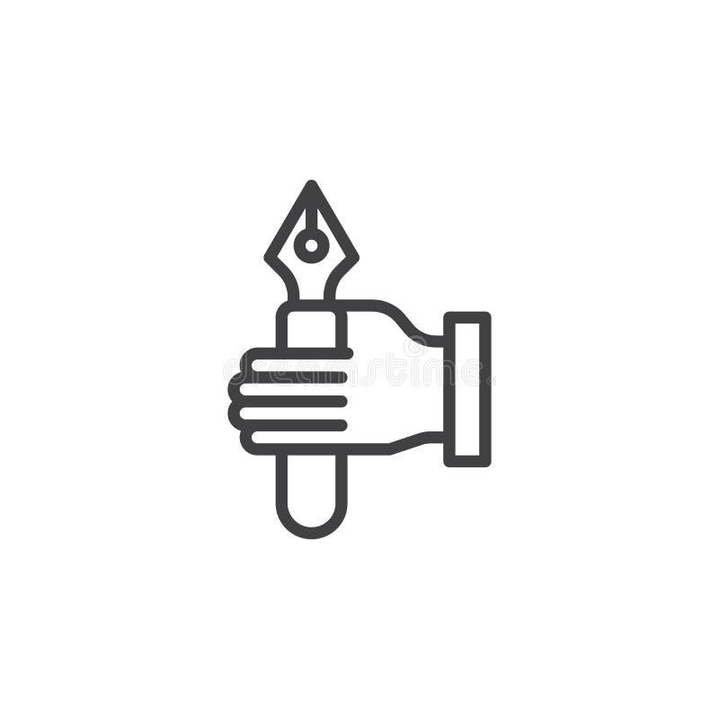 Mão que guarda a linha ícone da pena de fonte ilustração stock