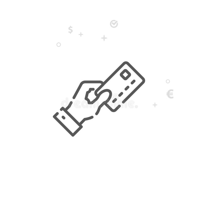 Mão que guarda a linha ícone do vetor do cartão de crédito, símbolo, pictograma, sinal Fundo geométrico abstrato claro Curso edit ilustração stock