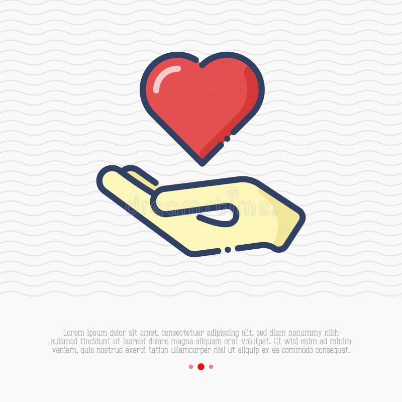 Mão que guarda a linha fina ícone do coração ilustração stock
