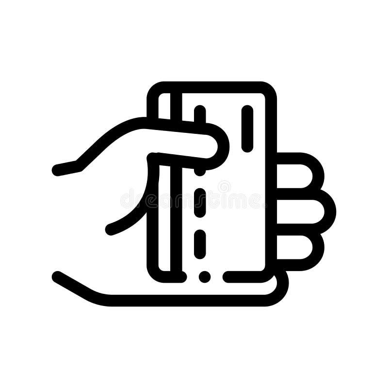 Mão que guarda a linha fina ícone do vetor do cartão de crédito ilustração royalty free