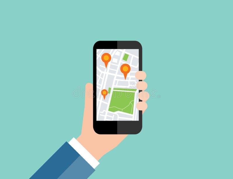 Mão que guarda móvel com navegação do lugar do mapa GPS móvel ilustração stock