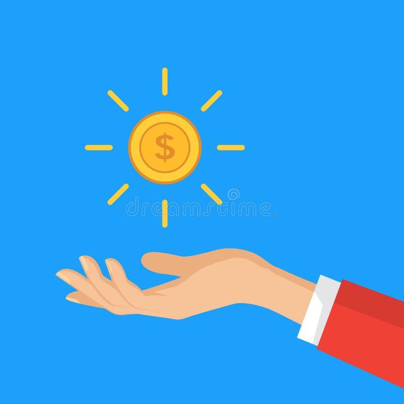 Mão que guarda a moeda do dólar Ilustração do vetor no estilo liso ilustração do vetor