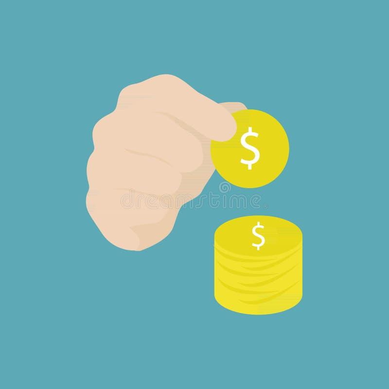 Mão que guarda a moeda e o ícone ilustração royalty free
