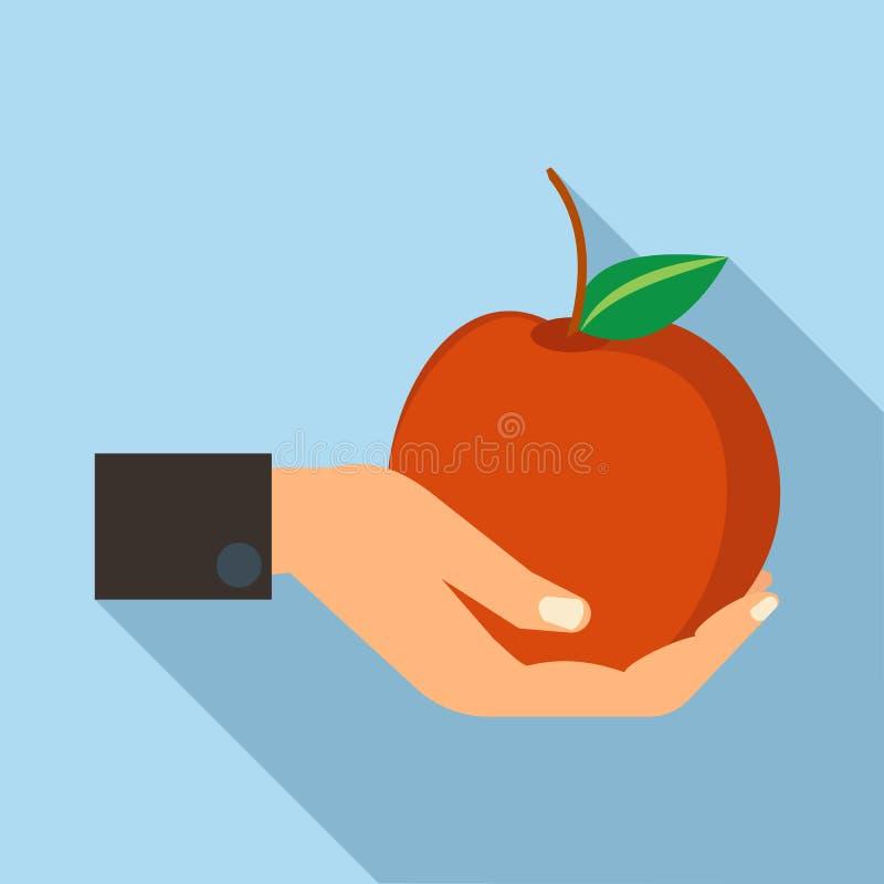 Mão que guarda o ícone da maçã, estilo liso ilustração do vetor