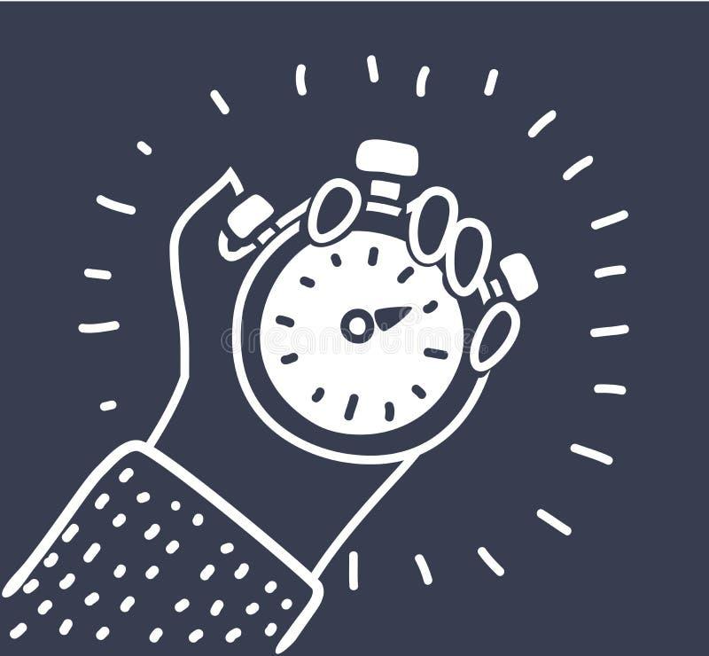Mão que guarda o ícone do cronômetro ilustração do vetor