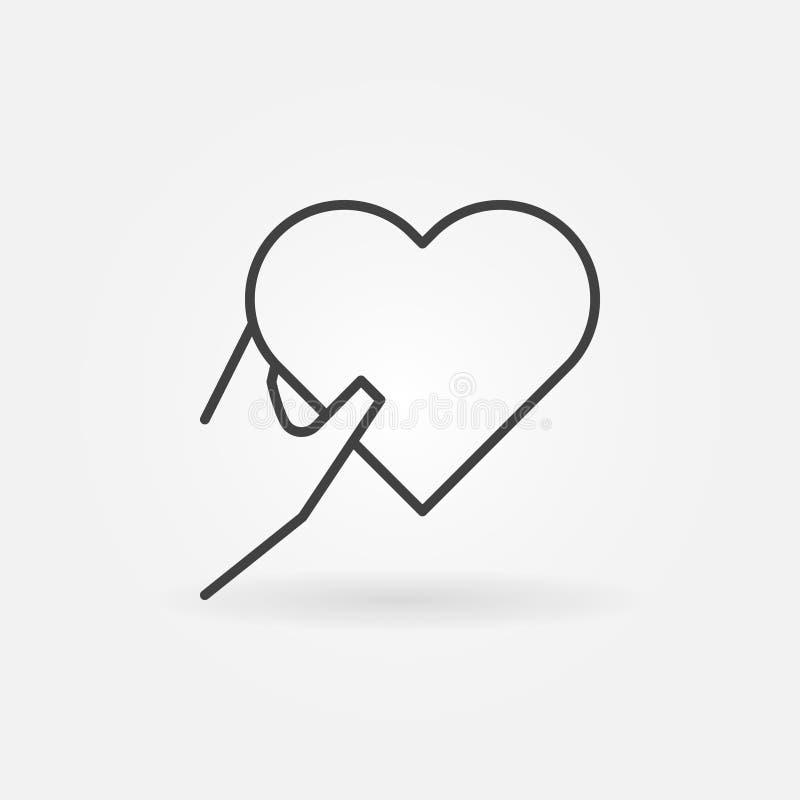 Mão que guarda o ícone do vetor do coração na linha estilo fina ilustração royalty free