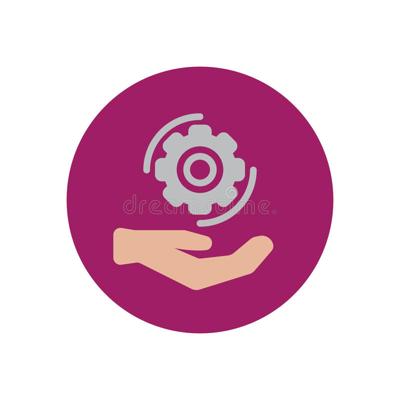 Mão que guarda o ícone liso da roda da roda denteada Botão colorido redondo, sinal circular do vetor dos ajustes da engrenagem, i ilustração do vetor