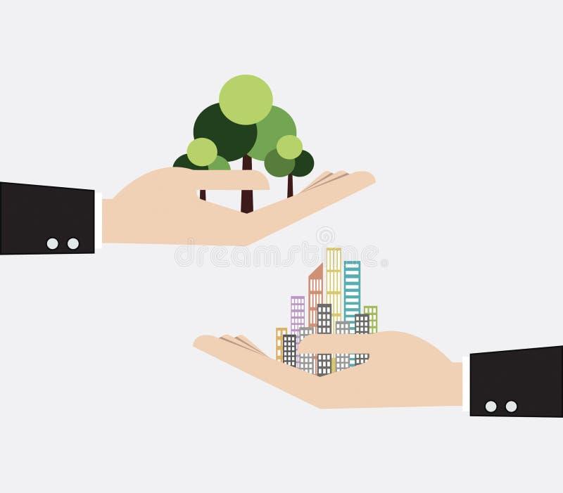 mão que guarda o arranha-céus e a árvore ilustração royalty free