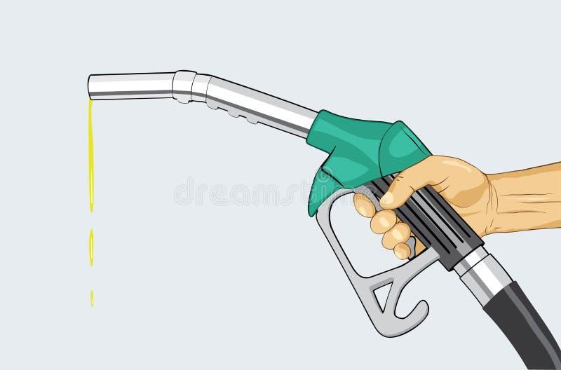 Mão que guarda o bocal de combustível ilustração royalty free