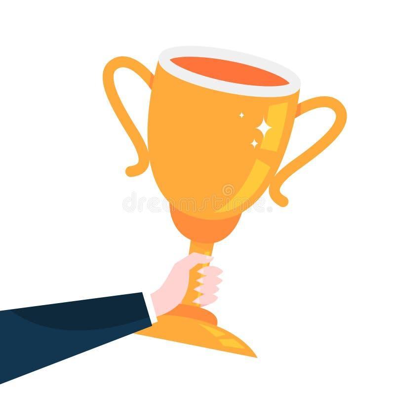 Mão que guarda o copo dourado grande do troféu Ideia da recompensa ilustração do vetor