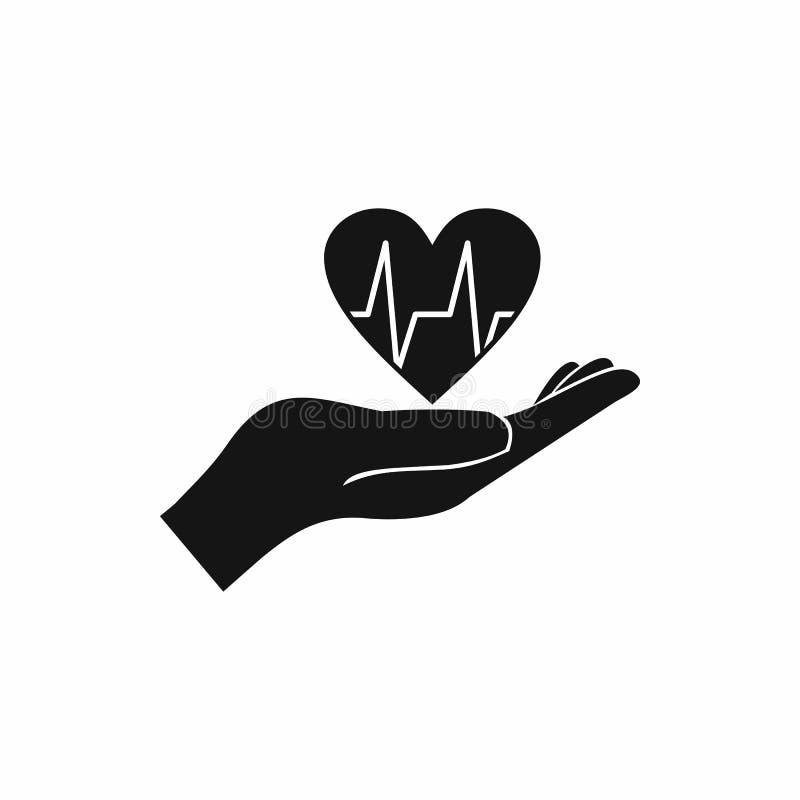 Mão que guarda o coração com linha ícone do ecg ilustração do vetor