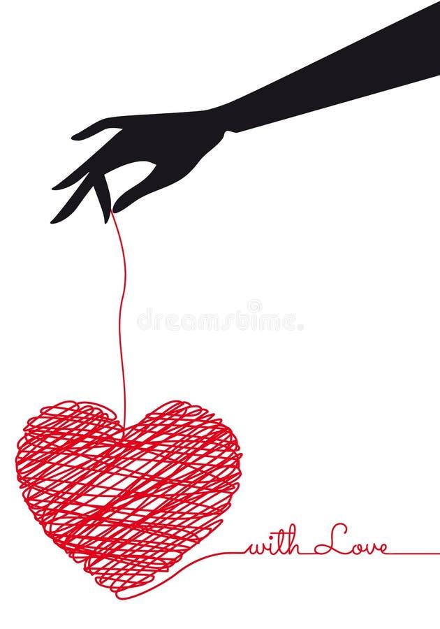 Mão que guarda o coração vermelho do garrancho, vetor ilustração stock