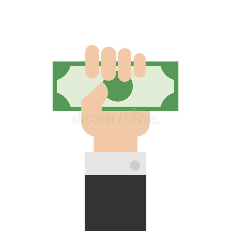 Mão que guarda o dinheiro ou o vetor disponivel do dinheiro Mão com dinheiro ou mão que dá o dinheiro no estilo liso ilustração do vetor