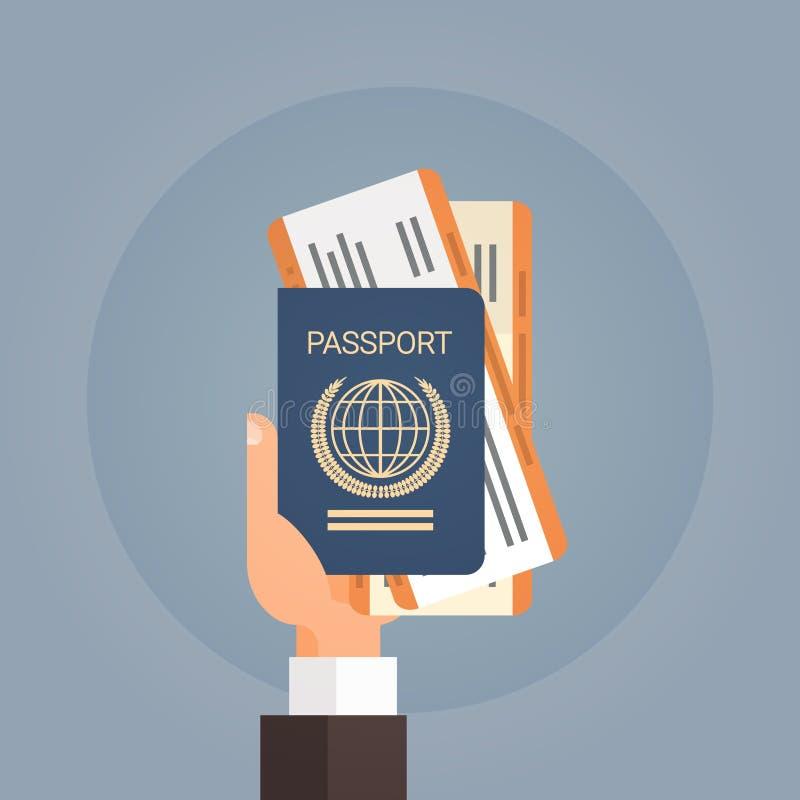 Mão que guarda o documento de viagem da passagem de embarque do bilhete do passaporte ilustração do vetor