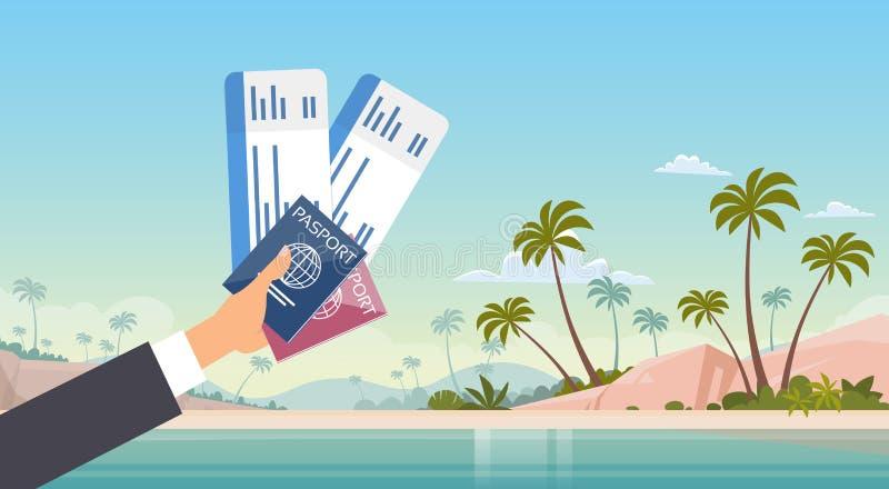 Mão que guarda o fundo da praia do mar das férias do beira-mar do documento de viagem da passagem de embarque do bilhete ilustração royalty free