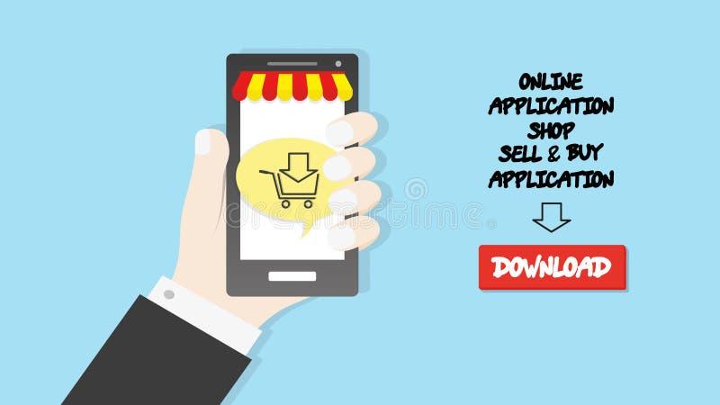 Mão que guarda o fundo do negócio do conceito da loja da aplicação do comércio do ícone do carro do smartphone ilustração do vetor