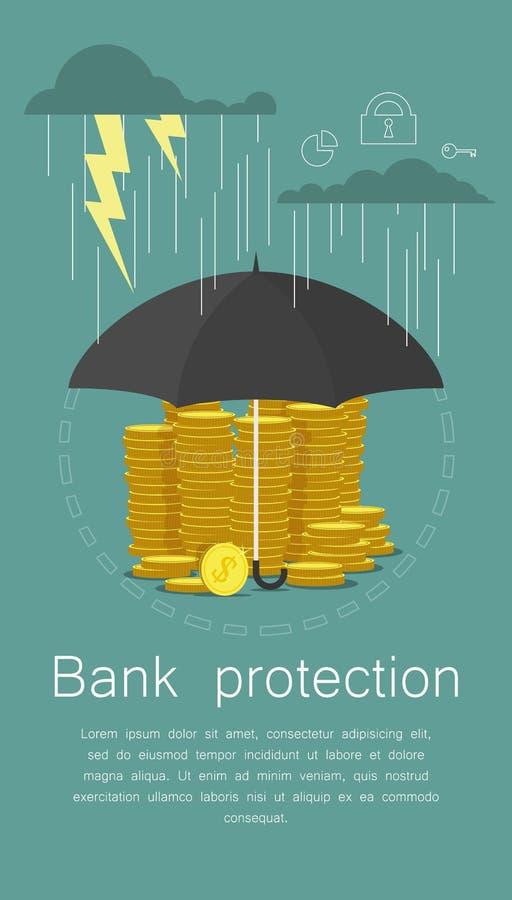 Mão que guarda o guarda-chuva para proteger o dinheiro ilustração para o conceito financeiro das economias ilustração royalty free