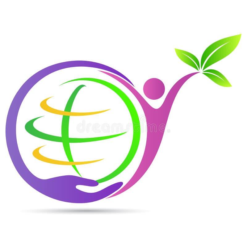 Mão que guarda o logotipo favorável ao meio ambiente da terra verde das economias do planeta ilustração do vetor