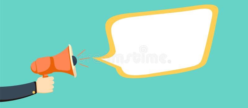 Mão que guarda o megafone com bolha vazia do discurso ilustração stock
