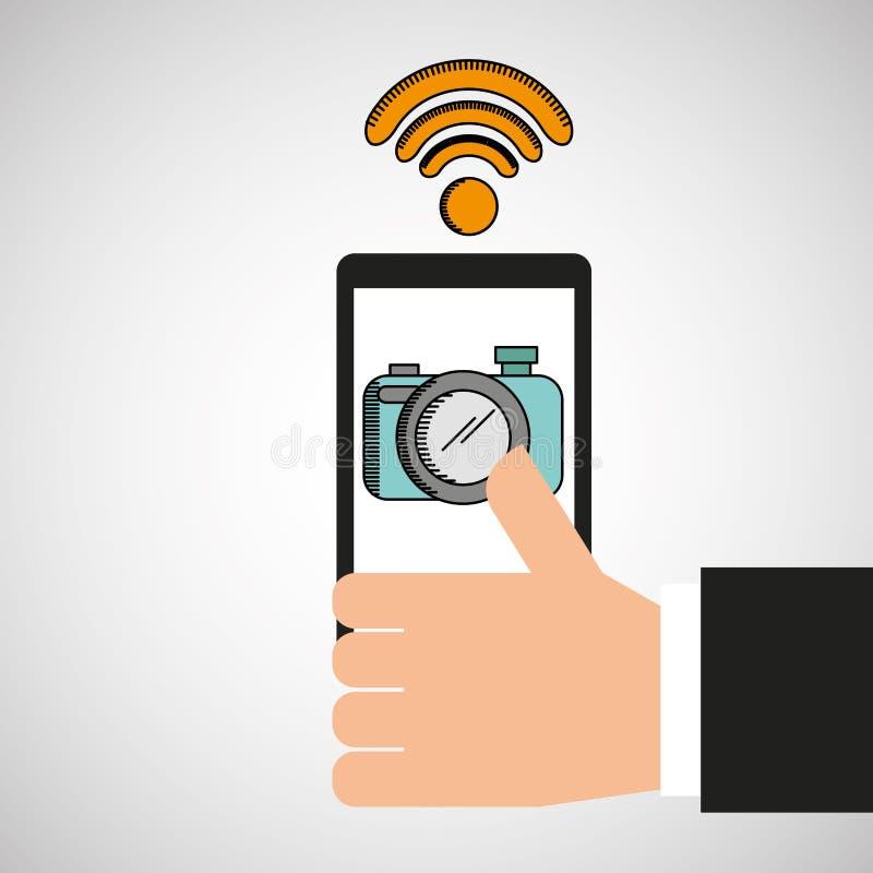Mão que guarda o selfie móvel da câmera do wifi ilustração royalty free