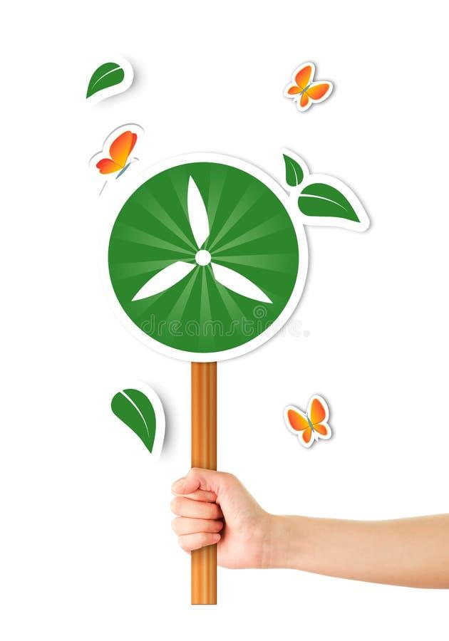Mão que guarda o sinal ecológico ilustração stock