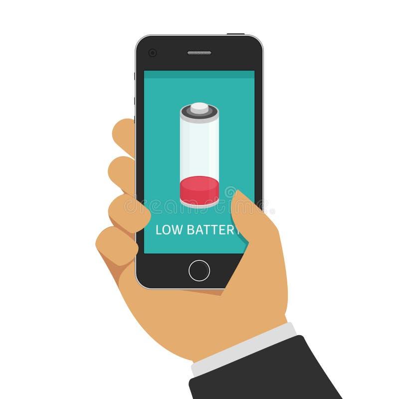 Mão que guarda o smartphone com baixa bateria ilustração royalty free
