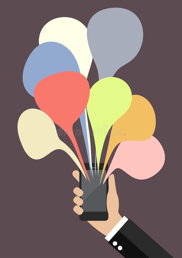 Mão que guarda o smartphone com bate-papo colorido da bolha ilustração stock