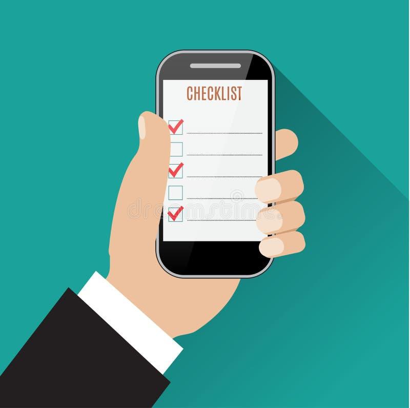 Mão que guarda o smartphone com lista de verificação ilustração royalty free