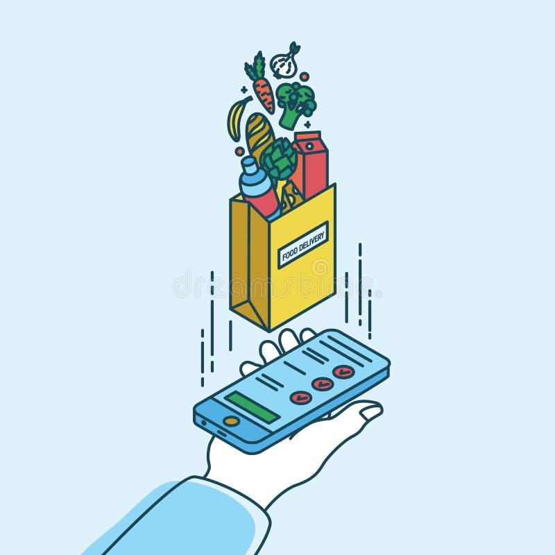 Mão que guarda o smartphone e o saco de papel com produtos Conceito do serviço de entrega do alimento ou do pedido móvel para em  ilustração royalty free