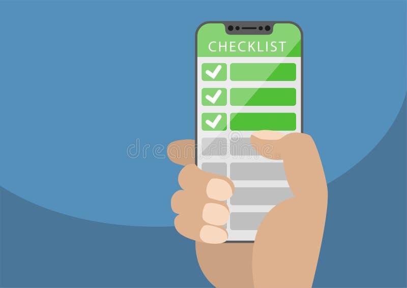 Mão que guarda o smartphone moldura-livre com lista de verificação verde como o conceito para lista móveis e em linha do todo Ilu ilustração royalty free
