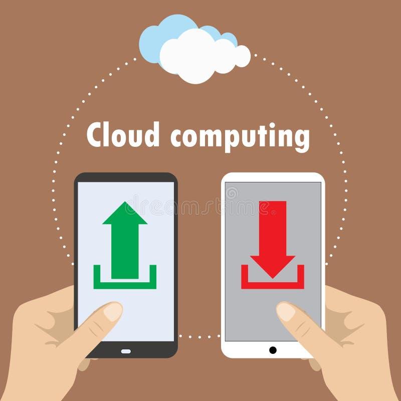 Mão que guarda o smartphone, nuvem que computa, ilustração do vetor